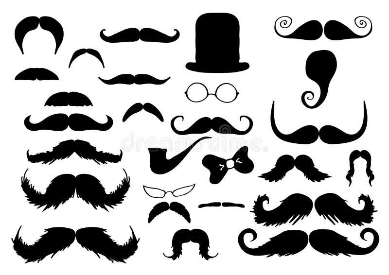 Coleção dos bigodes ilustração stock