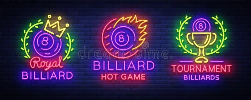 Coleção dos bilhar do estilo do néon dos logotipos Molde da cenografia dos sinais de néon para a barra, o clube, a cerveja e os b ilustração royalty free