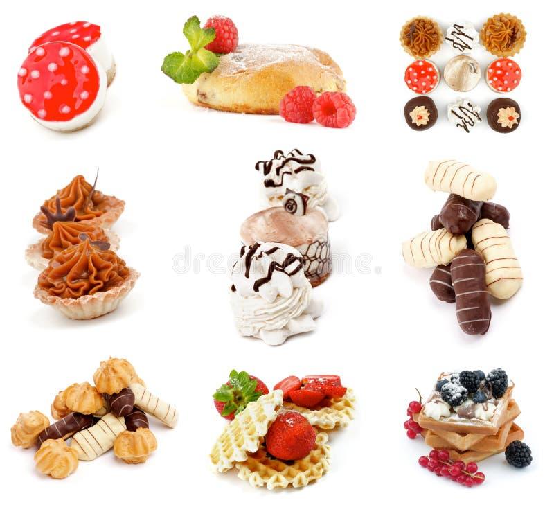 Coleção dos bolos e das sobremesas imagens de stock