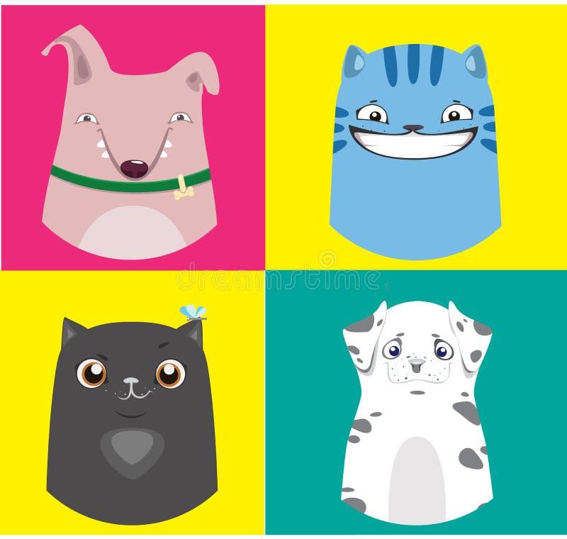 Coleção dos cães e gato dos desenhos animados Ilustrações coloridas do vetor ilustração stock