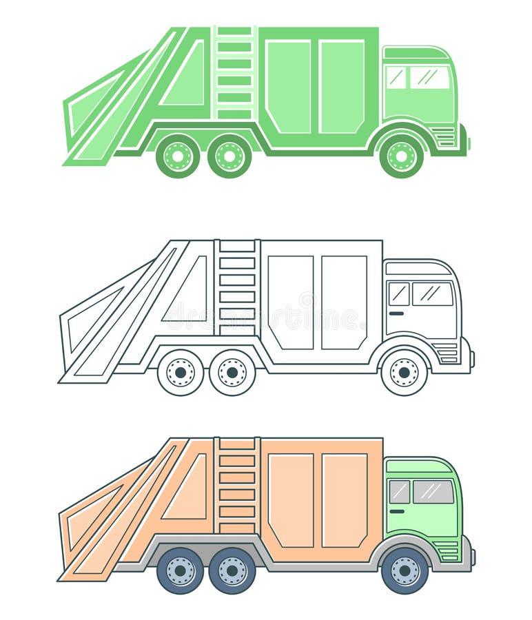 Coleção dos caminhões de lixo do veículo ilustração do vetor