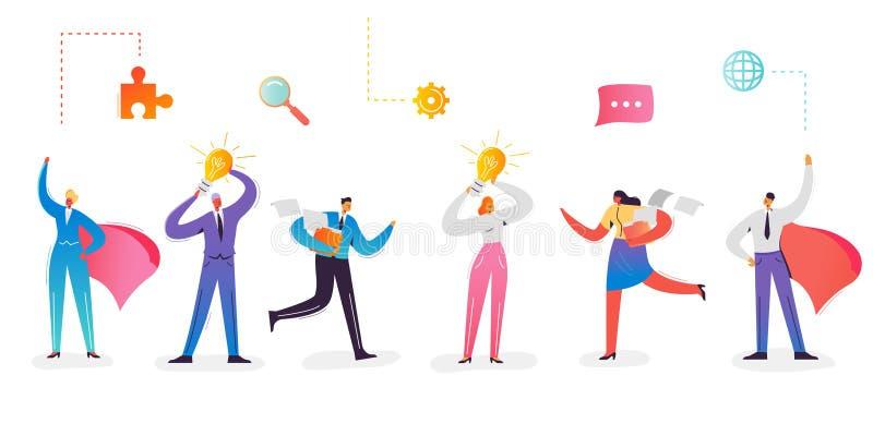 Coleção dos caráteres do negócio Mulher de negócios com ampola Homem de negócios super With Red Cape Idéia creativa ilustração stock