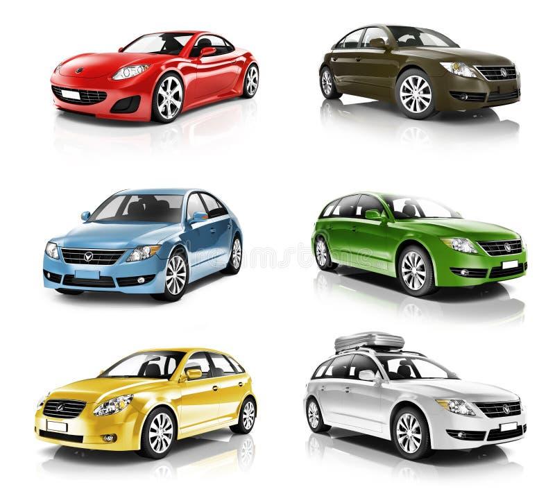 Coleção dos carros 3D ilustração royalty free