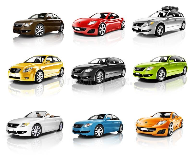 Coleção dos carros 3D isolados ilustração royalty free