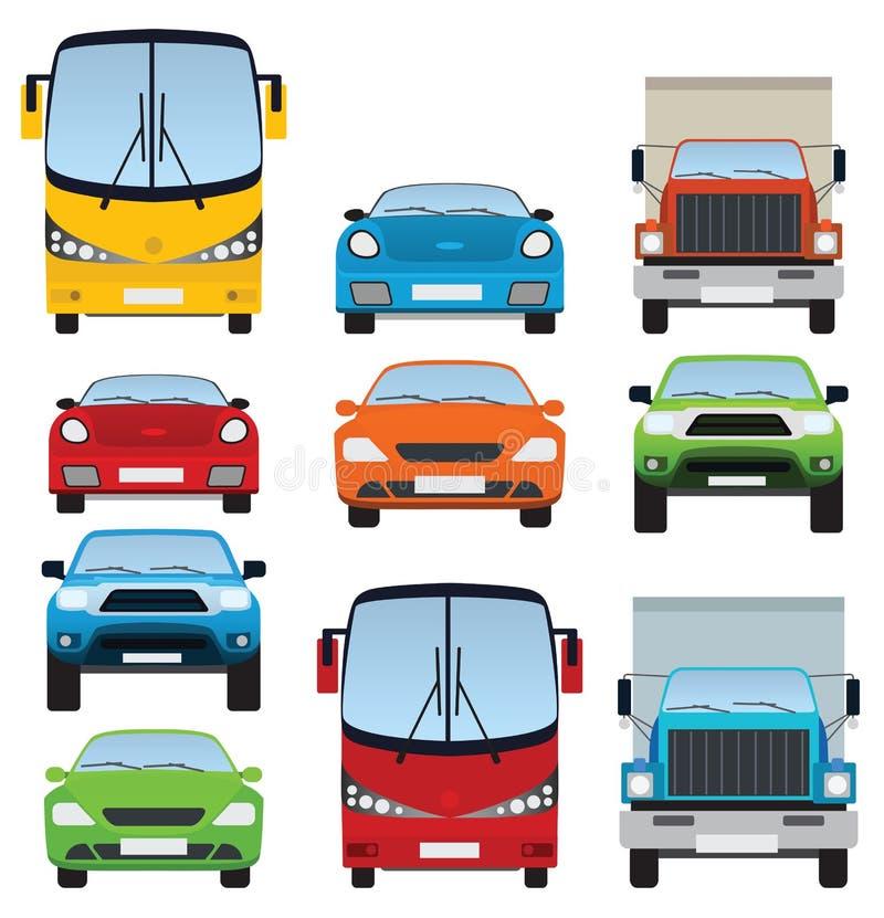 Coleção dos carros (vista dianteira) ilustração do vetor