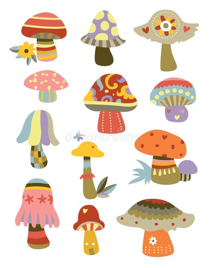 Coleção dos cogumelos ilustração do vetor