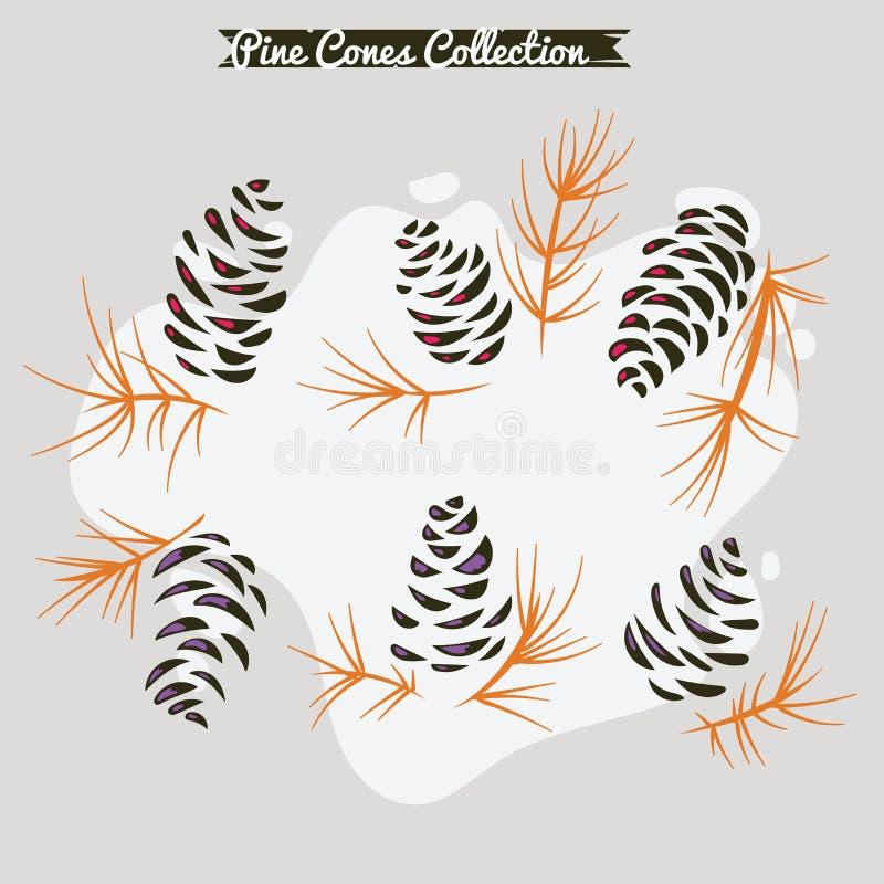 Coleção dos cones do pinho de ramos de árvore do Natal com cones e visco do pinho ilustração do vetor