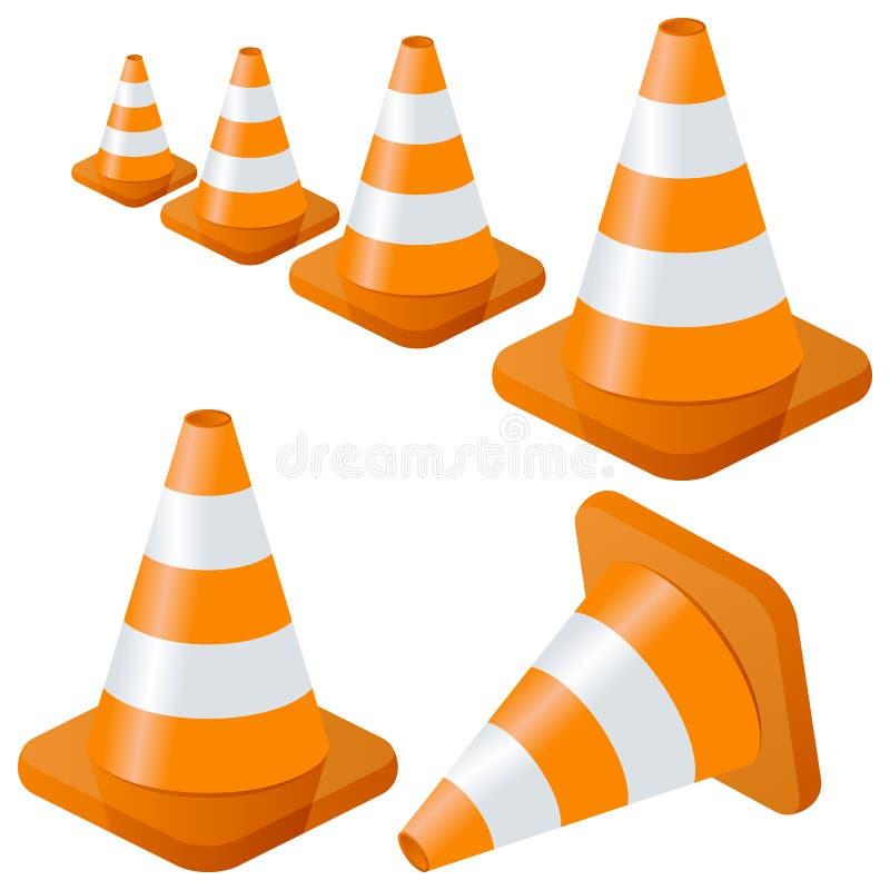 Coleção dos cones do tráfego ilustração royalty free