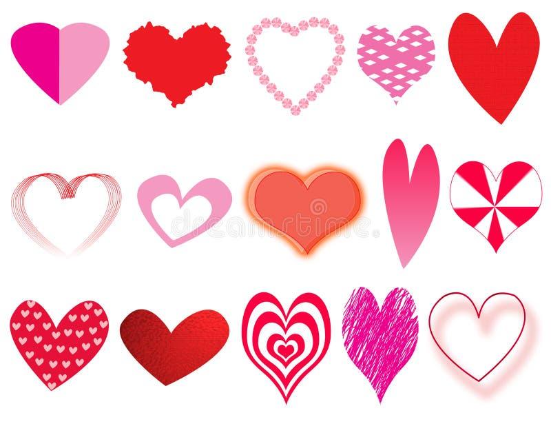 Coleção dos corações ilustração stock