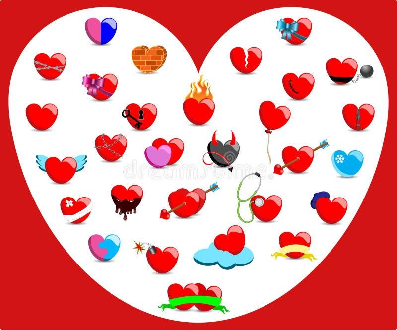 Coleção dos corações com sentimentos diferentes ilustração royalty free
