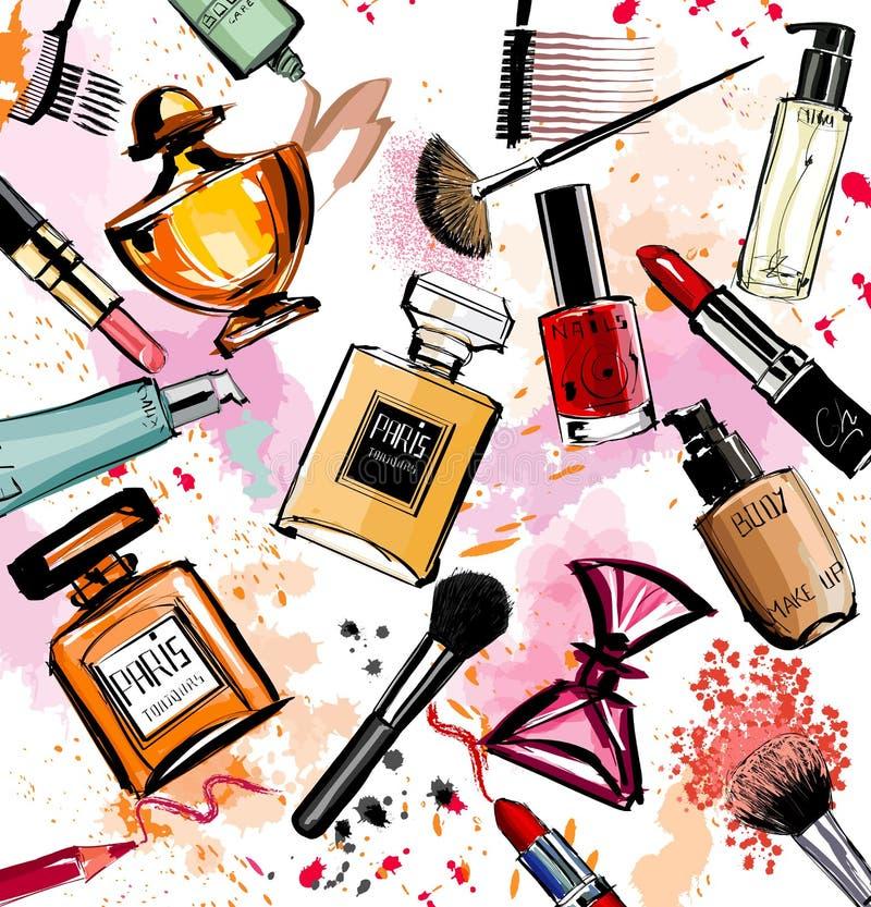 Coleção dos cosméticos e dos perfumes da aquarela ilustração royalty free