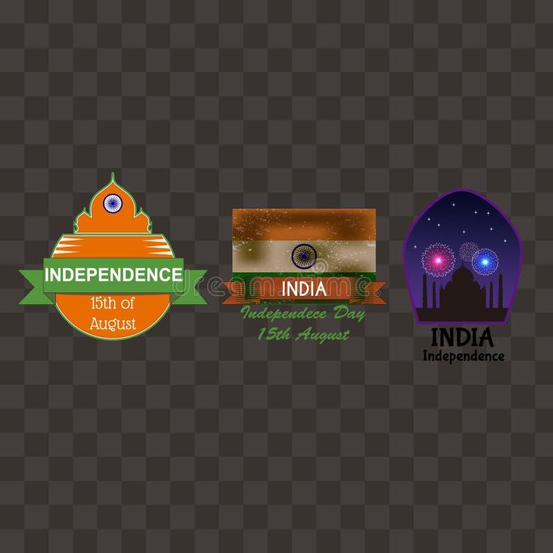 Coleção dos crachás do Dia da Independência da Índia ilustração royalty free