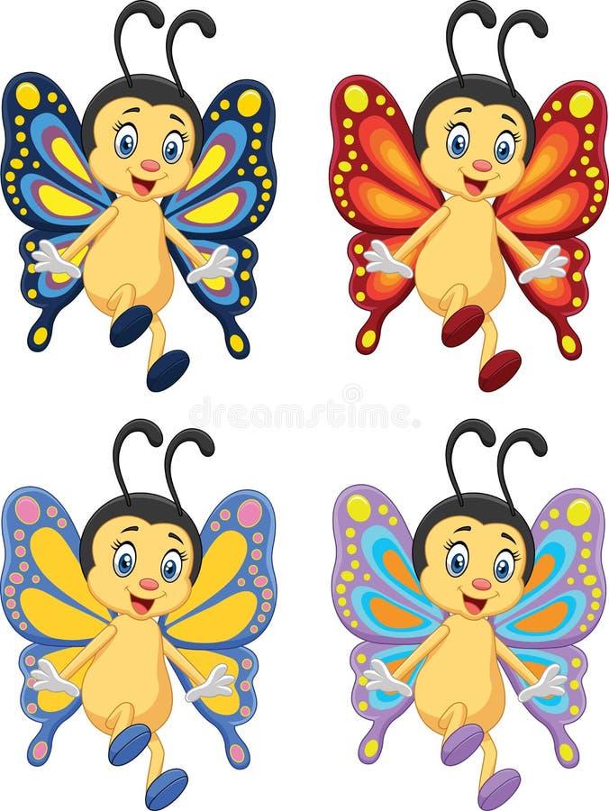 Coleção dos desenhos animados da borboleta no fundo branco ilustração stock