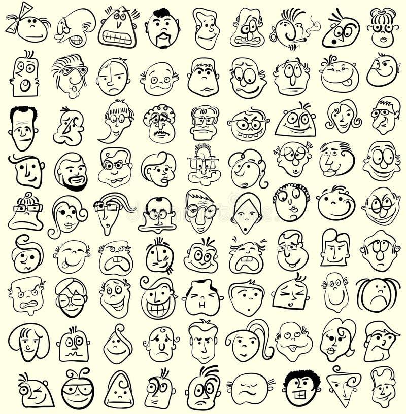 Coleção dos desenhos animados da caricatura da face. ilustração do vetor