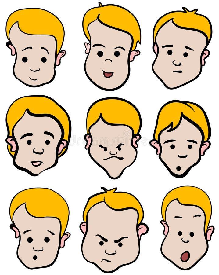 Coleção dos desenhos animados da emoção do rapaz pequeno ilustração stock