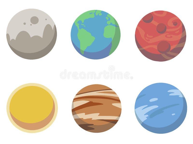 A coleção dos desenhos animados das ilustrações dos planetas do vetor que incluem a terra, sol, estraga, venus, jupiter e Netuno ilustração royalty free