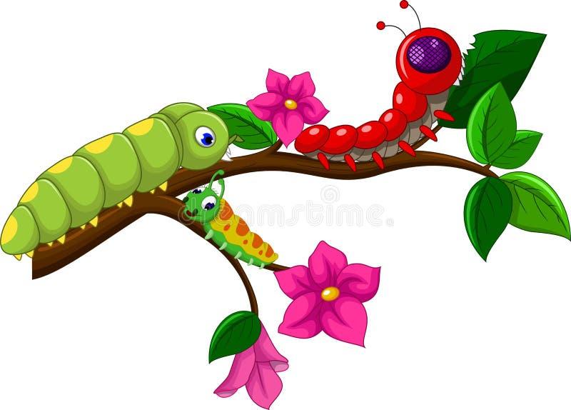 Coleção dos desenhos animados de Caterpillar ilustração royalty free