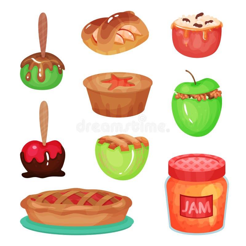 Coleção dos desenhos animados de várias sobremesas da maçã Frasco de vidro transparente com doce delicioso A HOME fêz doces Alime ilustração do vetor