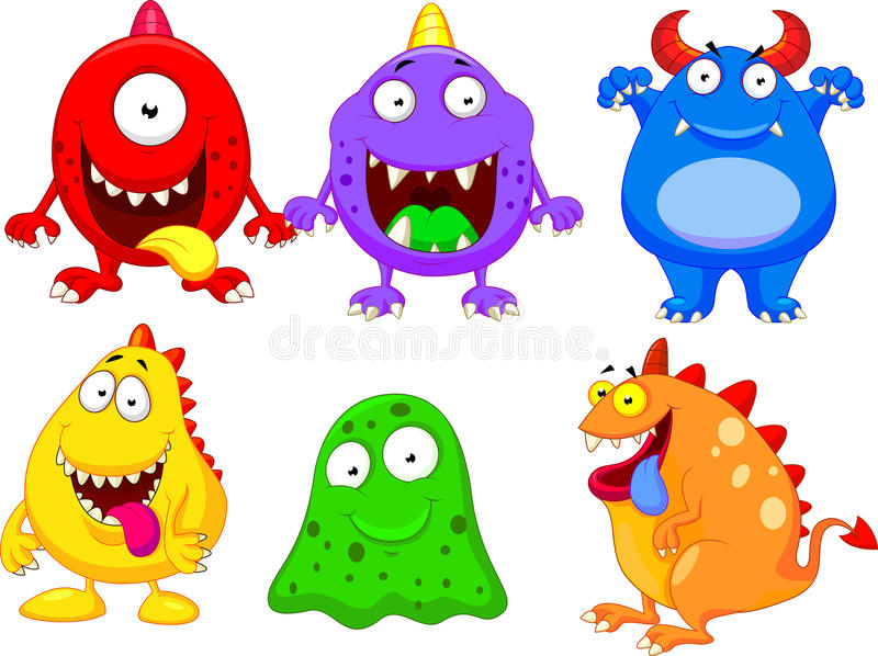 Coleção dos desenhos animados do monstro ilustração do vetor