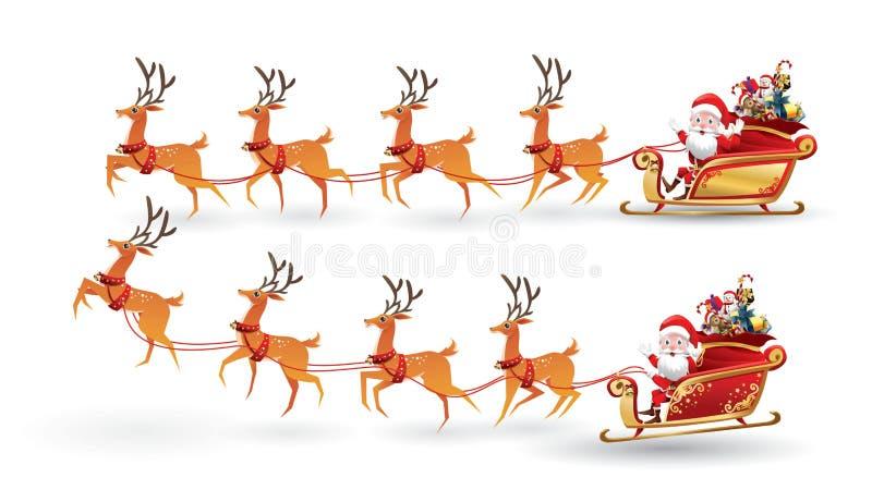 A coleção dos desenhos animados do Natal Santa Claus monta o trenó da rena no Natal com emoção diferente da pose Grupo do vetor ilustração royalty free