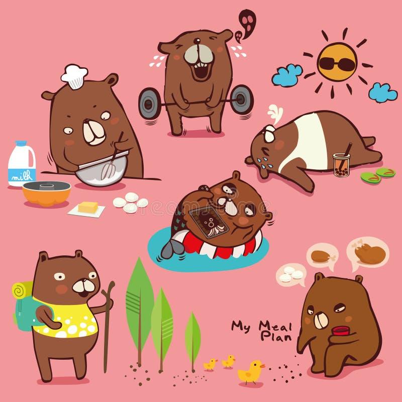 Cole??o dos desenhos animados do vetor, car?ter do urso marrom, emo??es bonitos diferentes e atividades a fazer dieta isolado no  ilustração royalty free