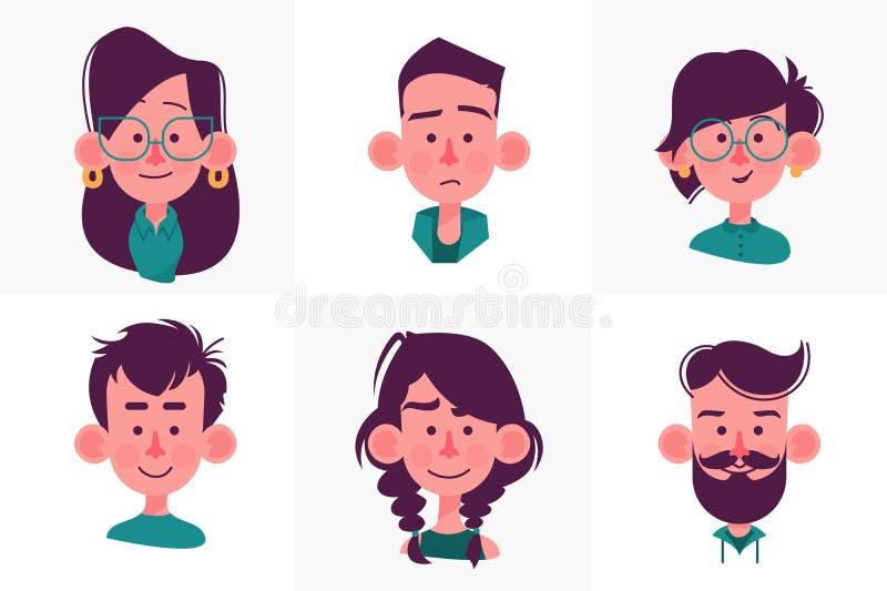 Coleção dos desenhos animados dos povos da cara ilustração stock