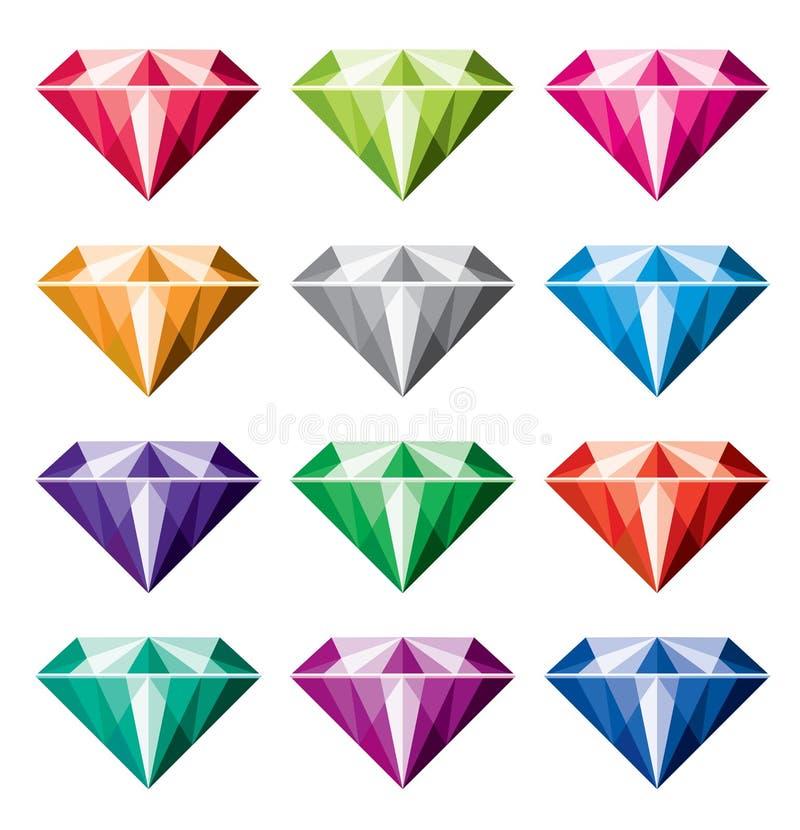 Coleção dos diamantes ilustração do vetor