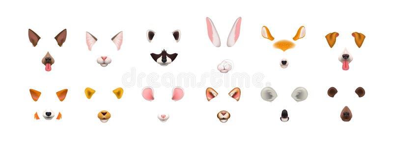 Coleção dos efeitos video da aplicação do bate-papo Pacote de caras bonitos e engraçadas ou máscaras de vários animais - cão, gat ilustração royalty free