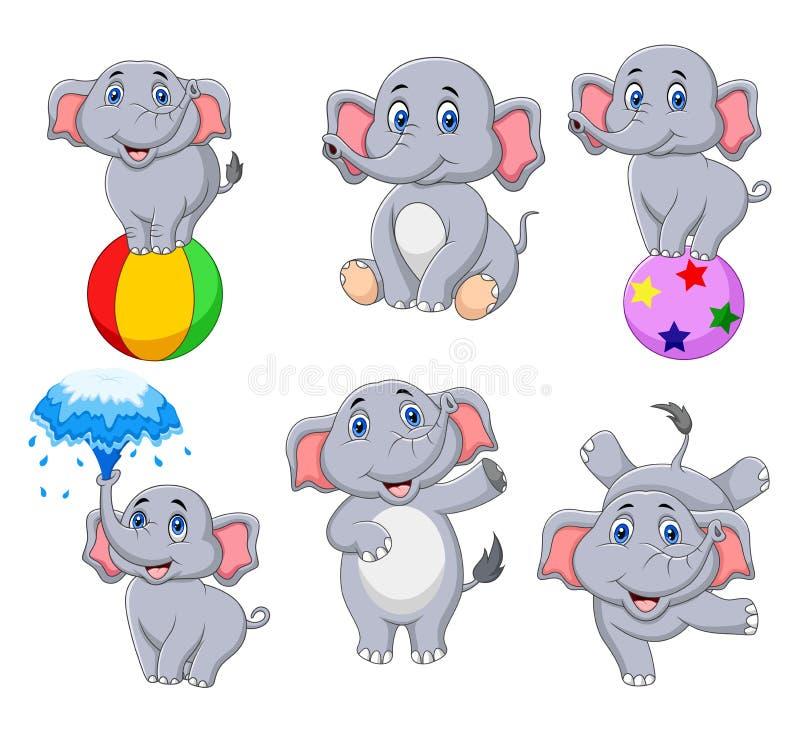 Coleção dos elefantes dos desenhos animados com ações diferentes ilustração do vetor