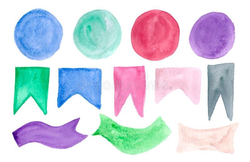 Coleção dos elementos coloridos do projeto da aquarela isolados no fundo branco ilustração do vetor