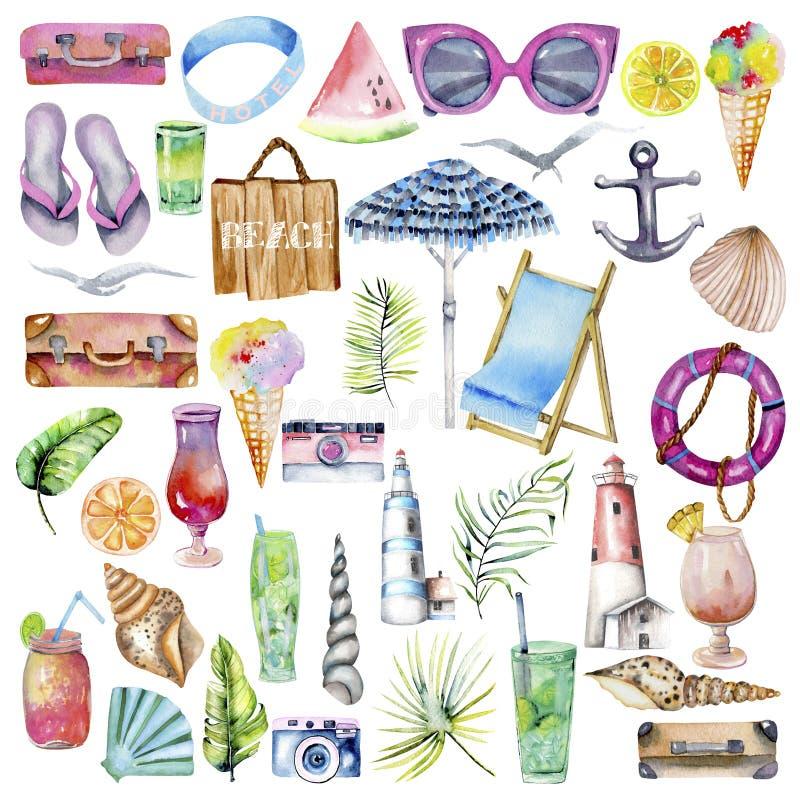 Coleção dos elementos da aquarela do verão, do mar, da praia e do curso ilustração royalty free