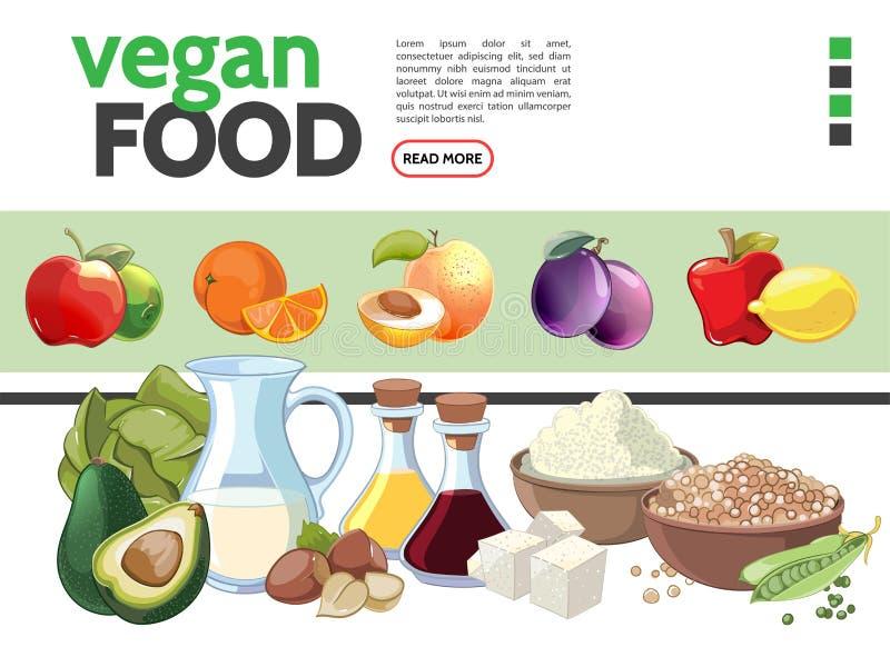 Coleção dos elementos do alimento do vegetariano dos desenhos animados ilustração royalty free