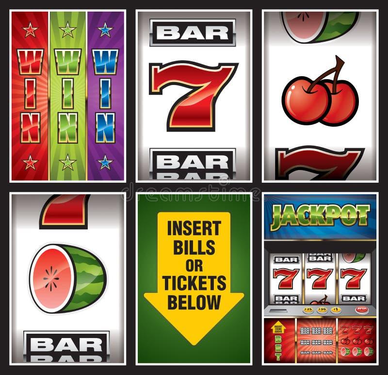 Coleção dos elementos do casino ilustração do vetor
