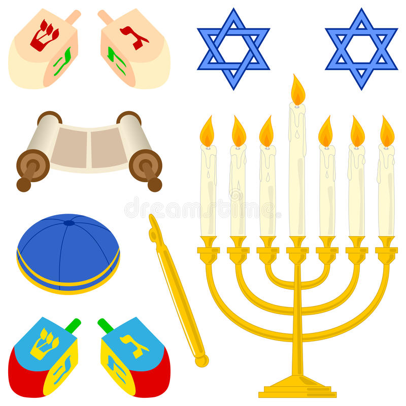 Coleção dos elementos do judaísmo ilustração royalty free
