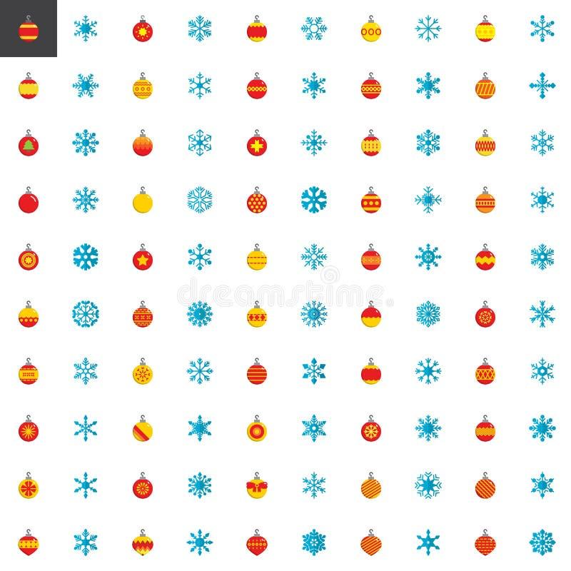 Coleção dos elementos do Natal, ícones lisos ajustados ilustração do vetor