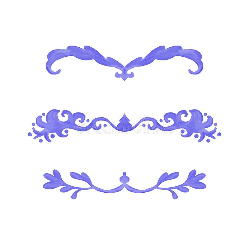 A coleção dos elementos do projeto da aquarela para traços e o capítulo paragrafam divisores ou beiras da arte gráfica ilustração do vetor