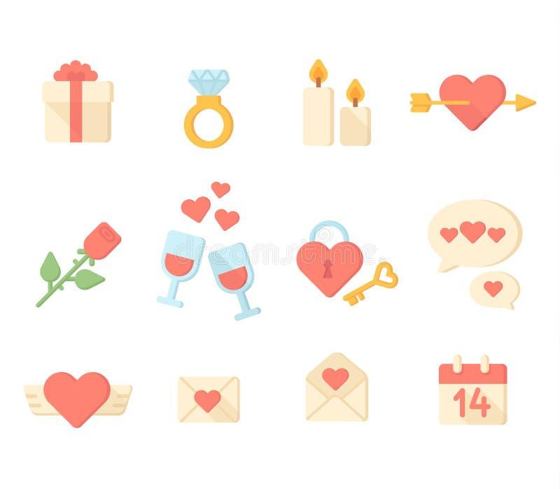 Coleção dos elementos dos ícones do dia de são valentim Vetor ilustração royalty free