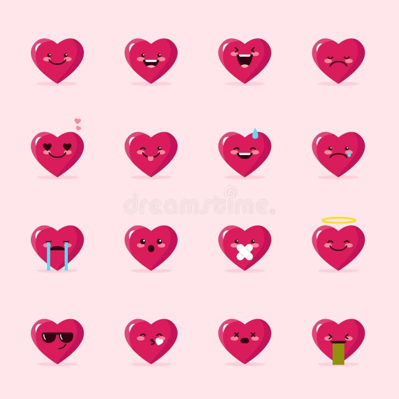 Coleção dos emoticons do coração do vetor Grupo bonito do emoji ilustração royalty free