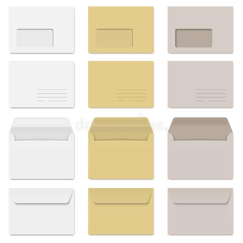 Coleção dos envelopes branco, marrom e cinza ilustração royalty free