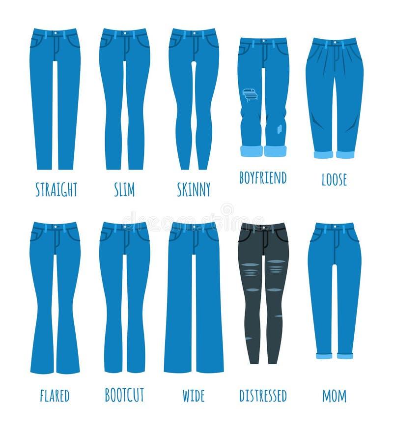 Coleção dos estilos das calças de brim das mulheres ilustração stock