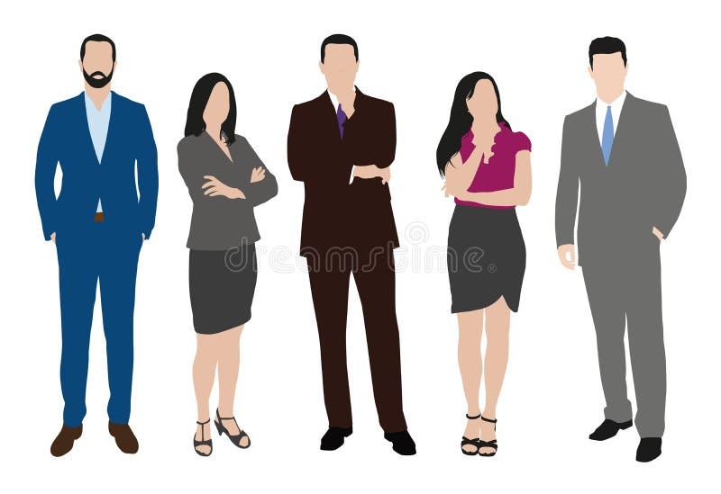 Coleção dos executivos das ilustrações em poses diferentes ilustração royalty free