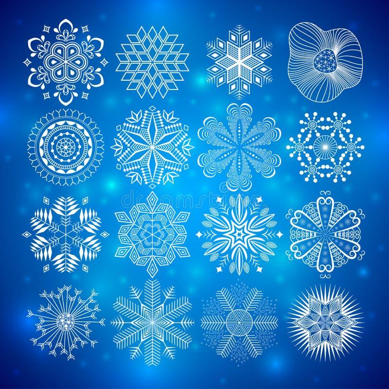 Coleção dos flocos de neve ilustração stock