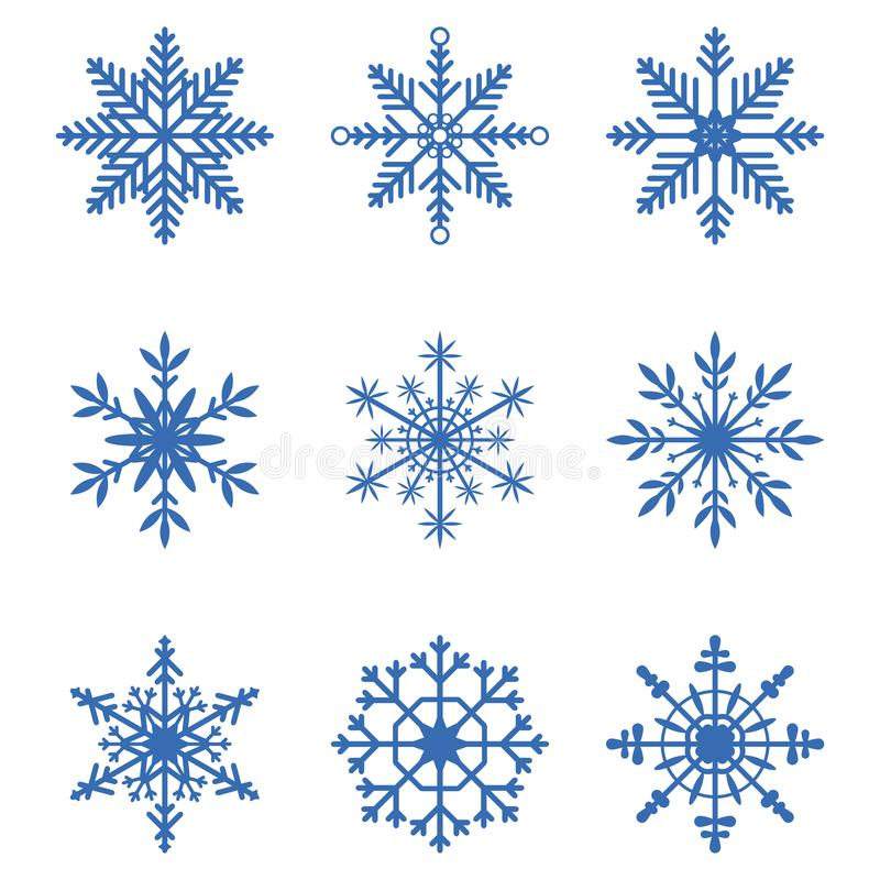 Coleção dos flocos de neve Grupo de ícones da neve Elementos para a bandeira do Natal, cartões da decoração do inverno do ano nov ilustração do vetor