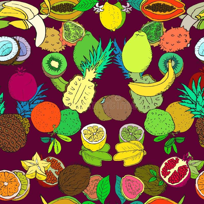 Coleção dos frutos tropicais, projeto sem emenda do teste padrão na obscuridade - fundo vermelho ilustração stock