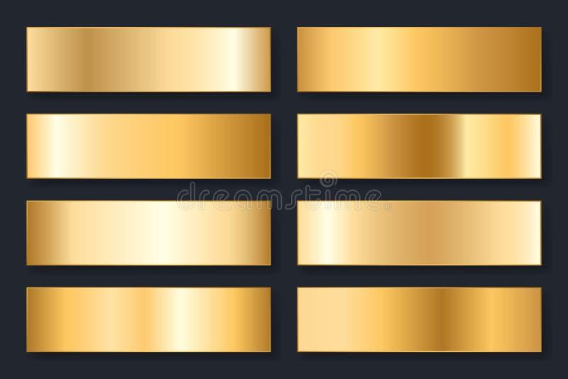 Coleção dos fundos com um inclinação metálico Placas brilhantes com efeito do ouro Ilustração do vetor ilustração royalty free