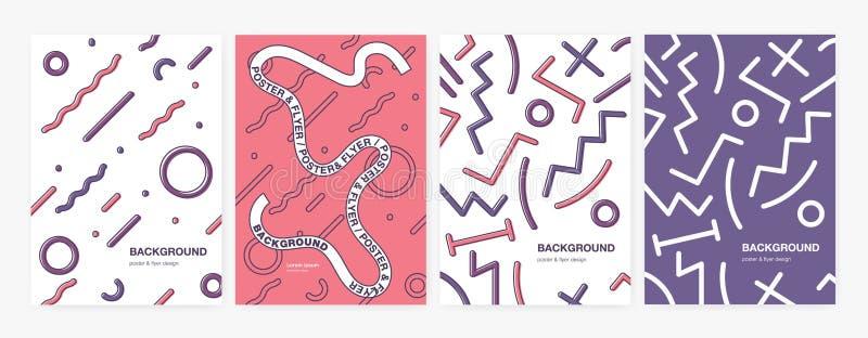 Coleção dos fundos ou dos contextos verticais com formas geométricas abstratas, curvados e linhas do ziguezague Grupo de cartaz ilustração stock