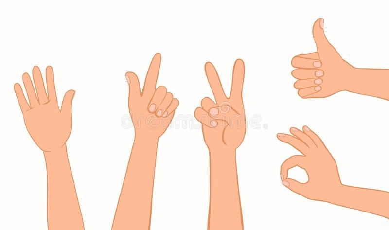 Coleção dos gestos ilustração stock