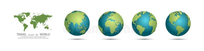 Coleção dos globos da terra Ajuste dos globos da terra 3d com sombra Curso em torno do conceito do mundo ilustração do vetor