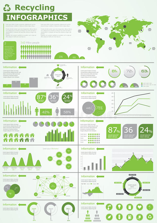 Coleção dos gráficos da informação da ecologia ilustração stock