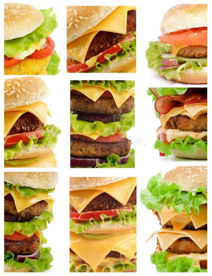 Coleção dos hamburgueres fotos de stock royalty free